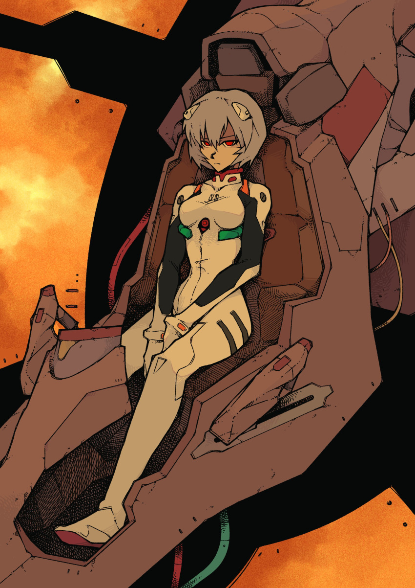 1girl absurdres ayanami_rei bangs blue_hair bodysuit breasts cable closed_mouth cockpit eva_00 expressionless frown full_body hair_ornament highres interface_headset looking_at_viewer mackle medium_breasts neon_genesis_evangelion orange_sky plugsuit red_eyes seat short_hair sitting sky solo white_bodysuit wire