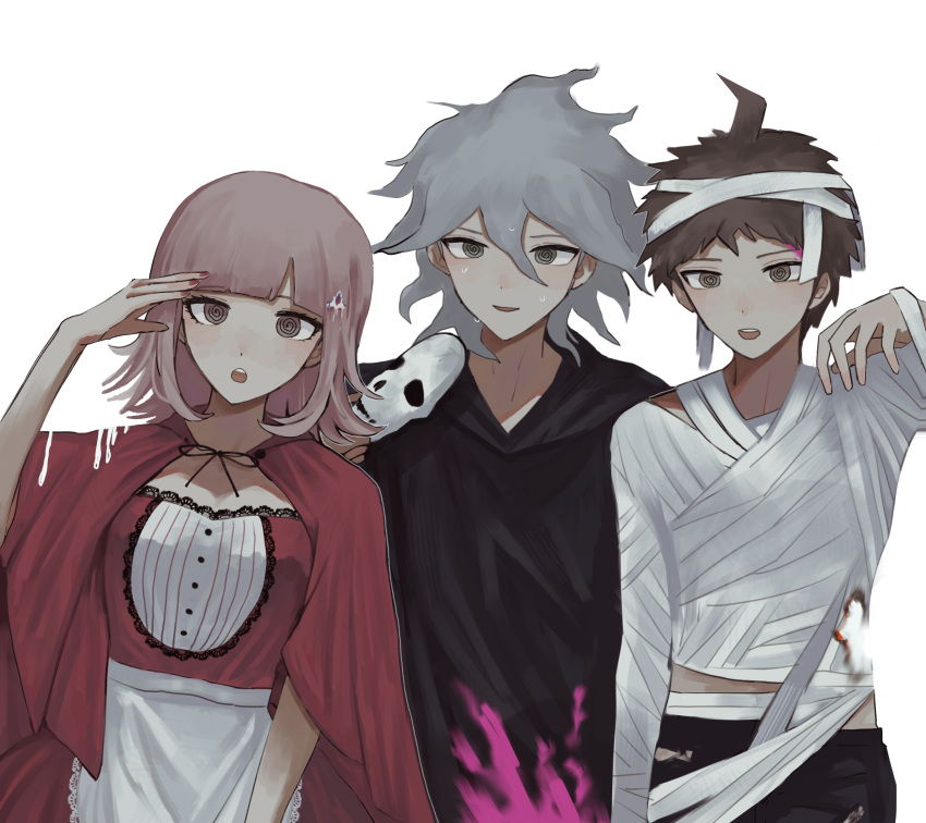 1girl 2boys :o absurdres ahoge alternate_hair_ornament apron bandages bangs black_footwear black_pants blunt_bangs breasts brown_hair capelet commentary_request cosplay crazy_eyes danganronpa_(series) danganronpa_2:_goodbye_despair death_(entity) galaga grey_hair grim_reaper grim_reaper_(cosplay) hair_between_eyes hair_ornament halloween_costume highres hinata_hajime holding holding_mask hood hood_down komaeda_nagito large_breasts little_red_riding_hood_(grimm) little_red_riding_hood_(grimm)_(cosplay) looking_at_viewer mask mask_on_head multiple_boys mummy_costume nail_polish nanami_chiaki open_mouth pants red_capelet red_nails red_ribbon red_skirt ribbon short_hair simple_background skirt sleeping triangle_hair_ornament upper_teeth uyu_(uyuchaxx) waist_apron white_apron white_background