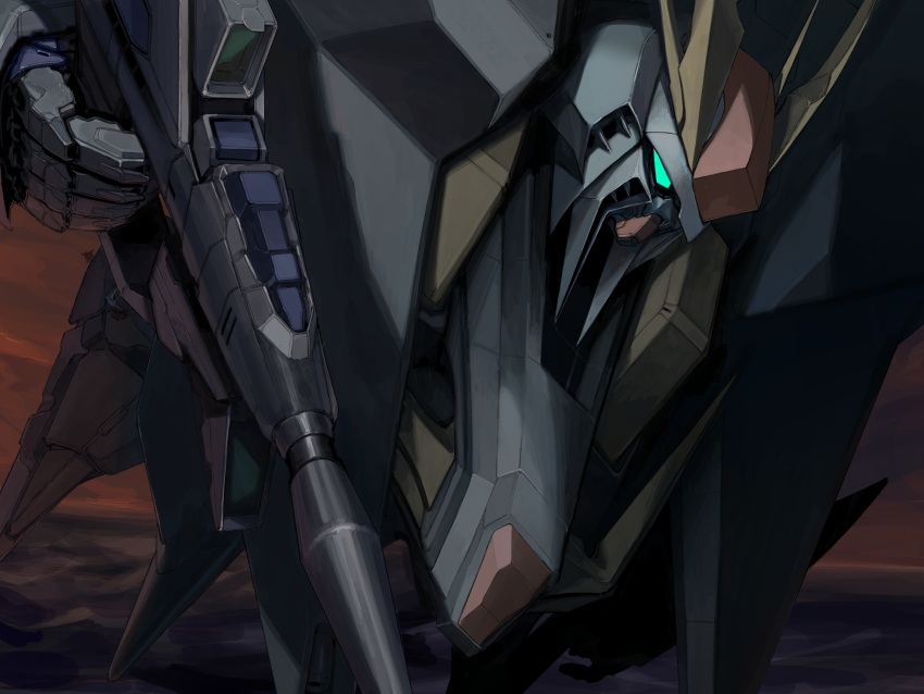 close-up commentary flying green_eyes gun gundam gundam_hathaway's_flash highres holding holding_gun holding_weapon mecha mobile_suit no_humans orrdriver science_fiction solo sunset v-fin weapon xi_gundam