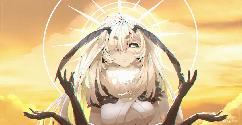 1girl absurdres antennae armor arthropod_girl bangs black_sclera breasts chromatic_aberration colored_sclera colored_skin extra_arms eyebrows_visible_through_hair film_grain green_eyes hair_over_one_eye hands_up highres indie_virtual_youtuber juniper_(artist) juniper_actias long_hair looking_down monster_girl moth_girl parted_lips pauldrons shoulder_armor sky solo thick_eyebrows twitter_username very_long_hair virtual_youtuber white_hair white_skin