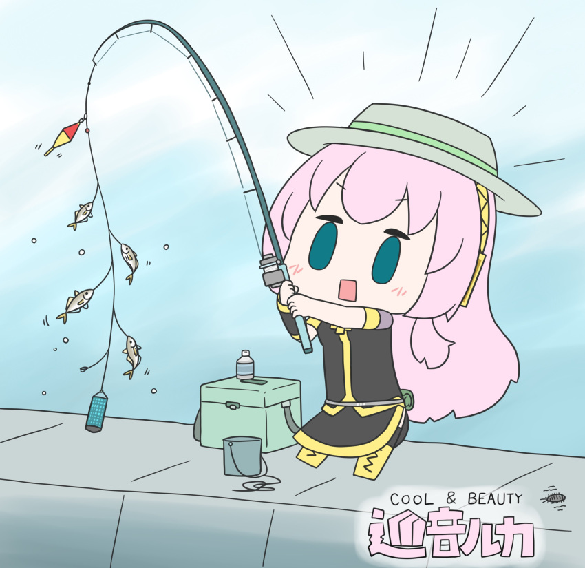 1girl absurdres aqua_eyes belt black_shirt black_skirt boots bottle box bucket character_name chibi commentary cross-laced_footwear fish fishing fishing_rod full_body gold_trim hat hatsune_negame headphones highres holding holding_fishing_rod knee_boots lace-up_boots long_hair megurine_luka motion_lines outdoors pink_hair shirt short_sleeves skirt solid_oval_eyes solo standing surprised very_long_hair vocaloid