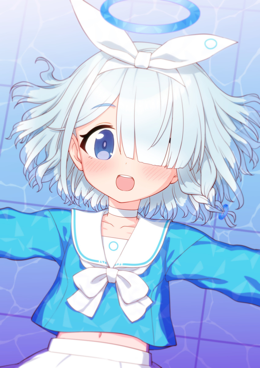 1girl :d absurdres arona_(blue_archive) blue_archive blue_eyes blue_shirt blush bow bow_hairband bowtie child choker colored_skin from_above grey_hair hair_over_one_eye hairband halo highres itou_yuuji long_sleeves looking_at_viewer lying medium_hair midriff navel on_back one_eye_covered open_mouth outstretched_arms round_teeth sailor_collar school_uniform serafuku shirt smile solo spread_arms teeth upper_teeth white_bow white_choker white_hairband white_neckwear white_sailor_collar white_skin