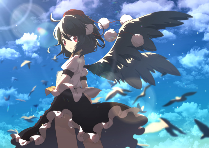 1girl above_clouds ahoge arm_at_side bangs bird black_hair black_skirt black_wings buttons clothes_lift colorized cowboy_shot ellipsis_(mitei) frilled_skirt frills hair_between_eyes hand_up hat leaf_print lens_flare light_particles light_rays looking_afar looking_past_viewer looking_to_the_side motion_blur pom_pom_(clothes) puffy_short_sleeves puffy_sleeves red_eyes red_headwear shameimaru_aya shiny shiny_clothes shiny_hair shirt shirt_lift short_hair short_sleeves skirt skirt_lift solo suguni sunlight tokin_hat touhou white_shirt wind wings