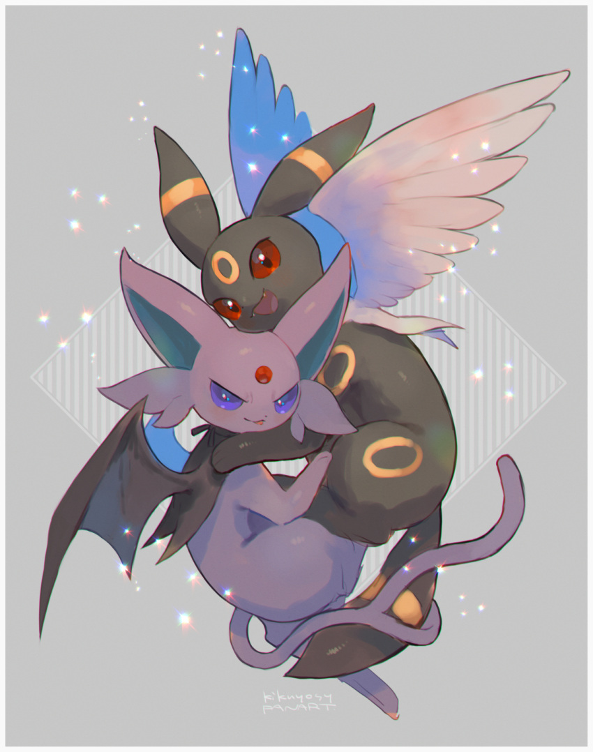 :d commentary_request espeon fangs highres kikuyoshi_(tracco) looking_at_viewer no_humans open_mouth pokemon pokemon_(creature) red_eyes smile toes tongue umbreon wings
