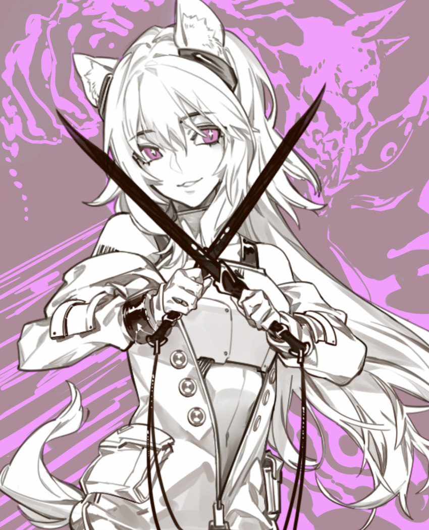 1girl animal_ears arknights armor aura bangs barcode barcode_tattoo bare_shoulders breastplate buttons dagger dual_wielding eyebrows_visible_through_hair gravel_(arknights) headphones highres holding holding_weapon jacket knife limited_palette long_hair looking_at_viewer mizuno_star navel open_clothes open_jacket parted_lips purple_background smile solo tail tattoo unzipped violet_eyes weapon zipper