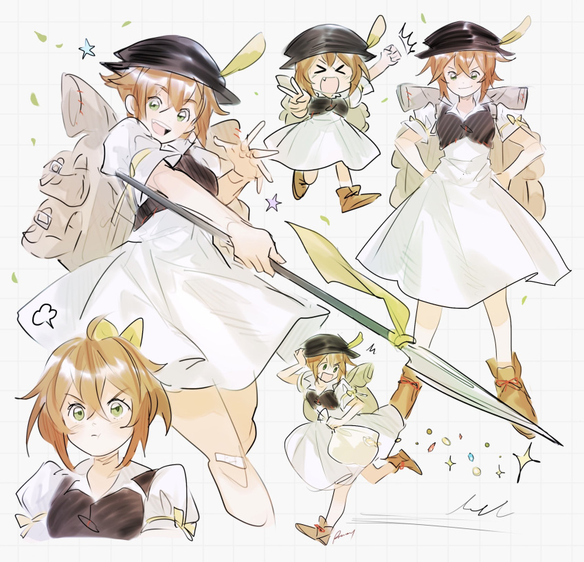 1girl aubz bag blush brown_hair dress gloves green_eyes hair_over_one_eye hat highres jewelry long_hair looking_at_viewer necklace octopath_traveler open_mouth scarf short_hair simple_background smile tressa_(octopath_traveler)