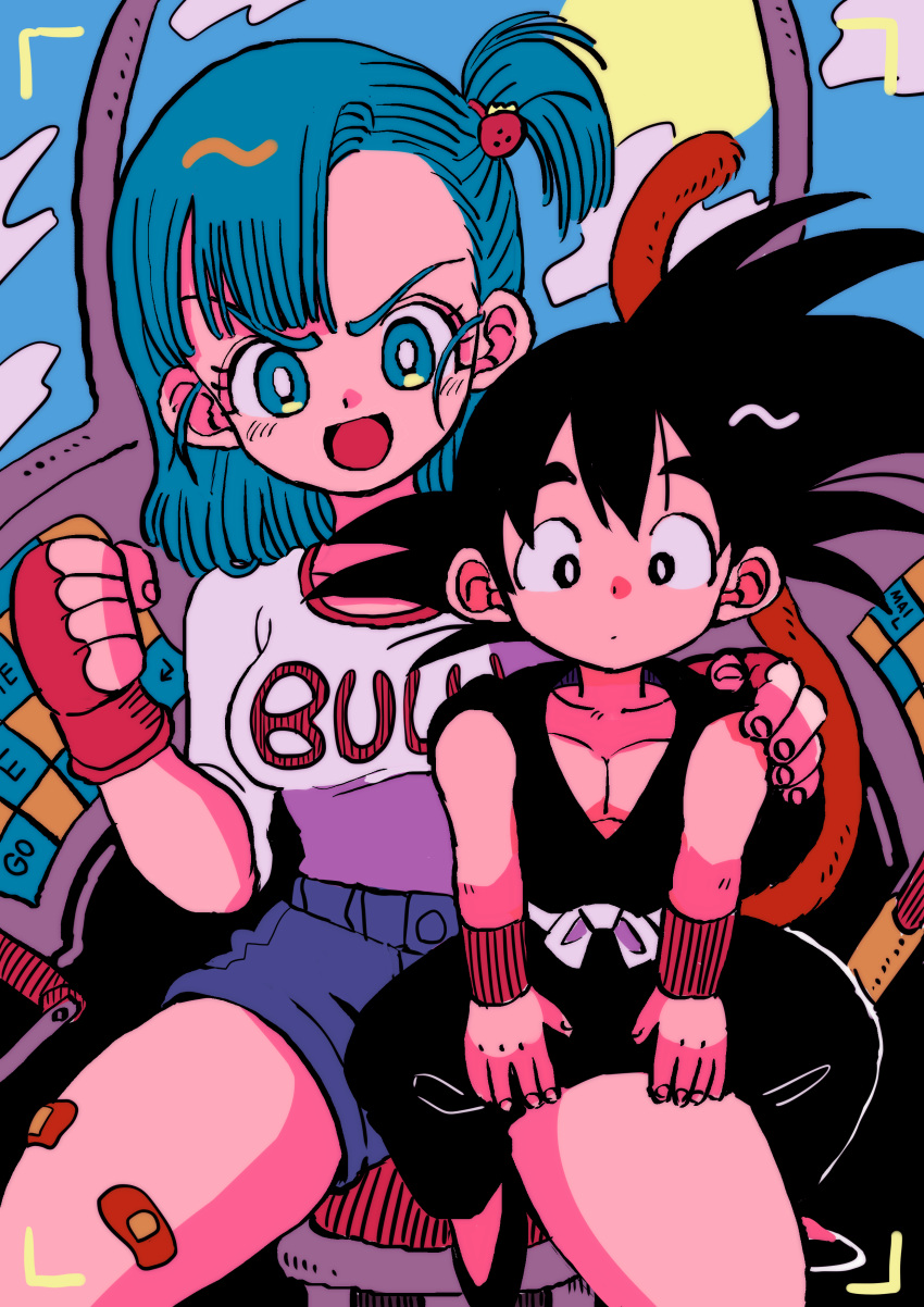 1boy 1girl absurdres aircraft bandaid bandaid_on_leg bangs black_eyes black_footwear black_hair blue_eyes blue_hair blue_sky breasts brown_gloves bulma character_name clenched_hand clothes_writing clouds cloudy_sky day denim denim_shorts dot_nose dougi dragon_ball dragon_ball_(classic) expressionless eyelashes fingerless_gloves fingernails food-themed_hair_ornament frown gloves hair_ornament hair_strand hair_tie hand_on_another's_shoulder highres kodama_(marugoto_omikan) large_breasts light_blush looking_at_viewer medium_breasts medium_hair monkey_tail on_chair one_side_up open_mouth parted_lips pectorals shirt shirt_tucked_in shoes short_shorts shorts sitting sitting_on_lap sitting_on_person sky son_goku spiky_hair strawberry_hair_ornament swept_bangs tail thick_thighs thighs v-shaped_eyebrows white_shirt wristband