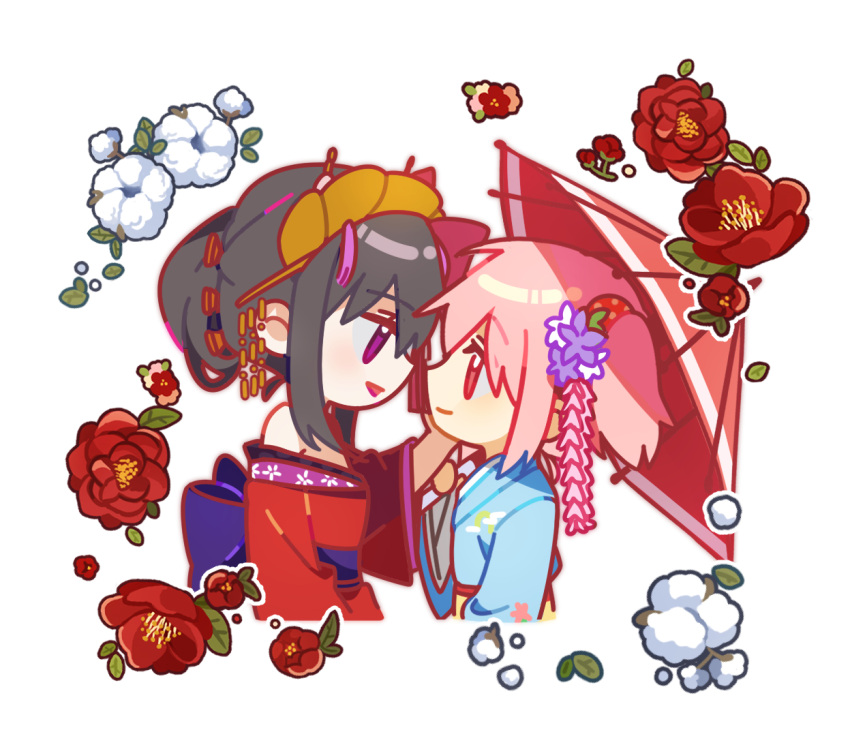 2girls akemi_homura alternate_costume alternate_hairstyle back_bow bare_shoulders black_hair blue_kimono bow camellia chibi closed_mouth cotton_boll cropped_torso eye_contact eyebrows_visible_through_hair eyes_visible_through_hair face-to-face flower from_side hair_bun hair_flower hair_ornament hair_ribbon hair_up hairpin half-closed_eyes hand_on_another's_cheek hand_on_another's_face hand_up headpiece japanese_clothes jitome kaname_madoka kimono leaf light_smile looking_at_another mahou_shoujo_madoka_magica mamasna_(mattna_mmm) multiple_girls obi off-shoulder_kimono off_shoulder outline parted_lips pink_eyes pink_hair polka_dot profile purple_bow purple_flower purple_sash red_flower red_kimono red_outline red_ribbon ribbon sash sidelocks simple_background tassel tied_hair twintails upper_body violet_eyes white_background white_flower white_outline yellow_sash yuri