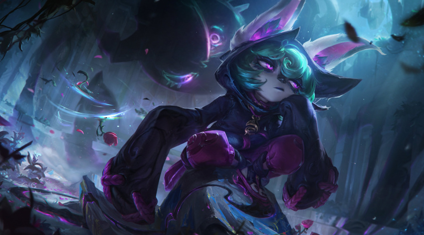 1girl 1other absurdres animal_ears artist_request boots chain ears_through_headwear flower glowing glowing_eyes grass green_hair hair_between_eyes highres hood hood_up jewelry jitome leaf league_of_legends living_shadow long_sleeves necklace night official_art outdoors pale_skin plant rose sitting sleeves_past_wrists very_long_sleeves vex_(league_of_legends) violet_eyes