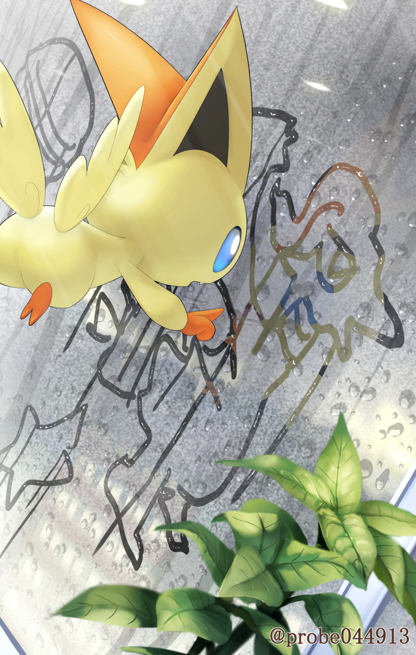 absurdres blue_eyes commentary_request drawing flying glass highres index_finger_raised leaf mythical_pokemon no_humans open_mouth pokemon pokemon_(creature) purobe solo victini window_writing