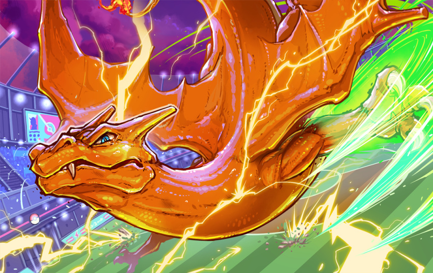 blue_eyes charizard claws clouds commentary_request electricity fire flying looking_at_viewer no_humans pokemon pokemon_(creature) solo stadium unno_daisuke