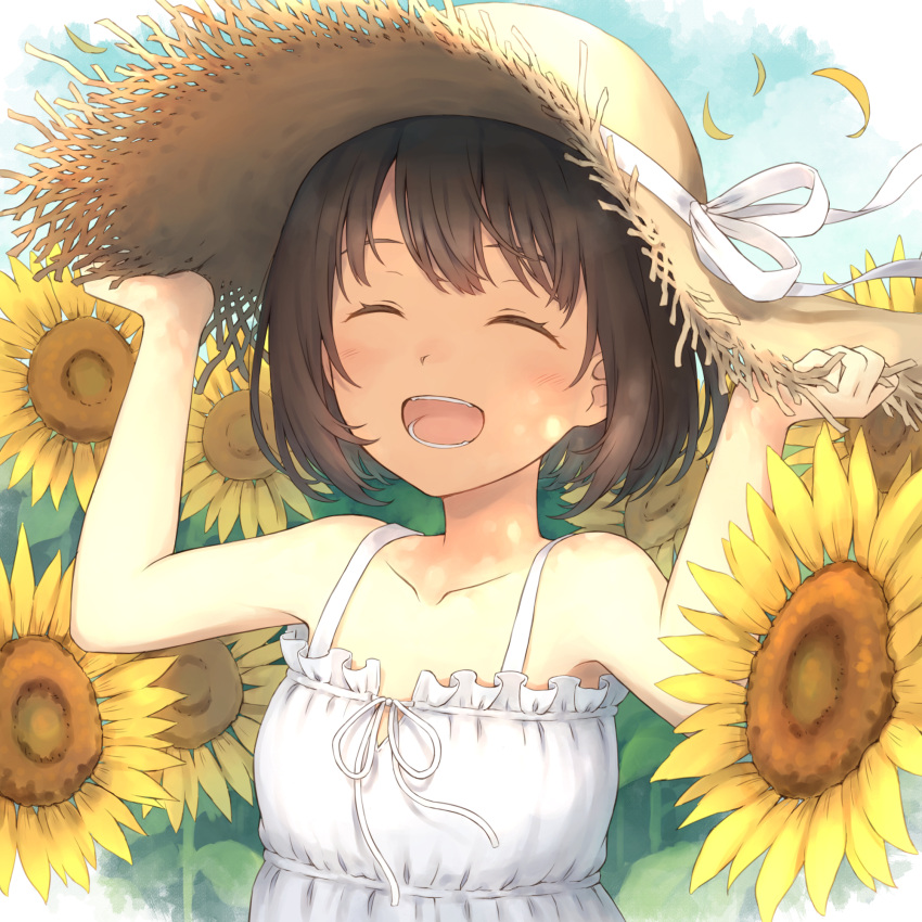 104 1girl bangs blush bob_cut brown_hair closed_eyes clouds cloudy_sky day dress eyelashes field flower flower_field hair_flower hair_ornament hand_on_headwear hands_up happy hat hat_ribbon highres open_mouth original ribbon short_hair sky sleeveless sleeveless_dress smile solo straw_hat sun_hat sundress sunflower sunflower_hair_ornament teeth upper_body white_dress white_ribbon yellow_flower
