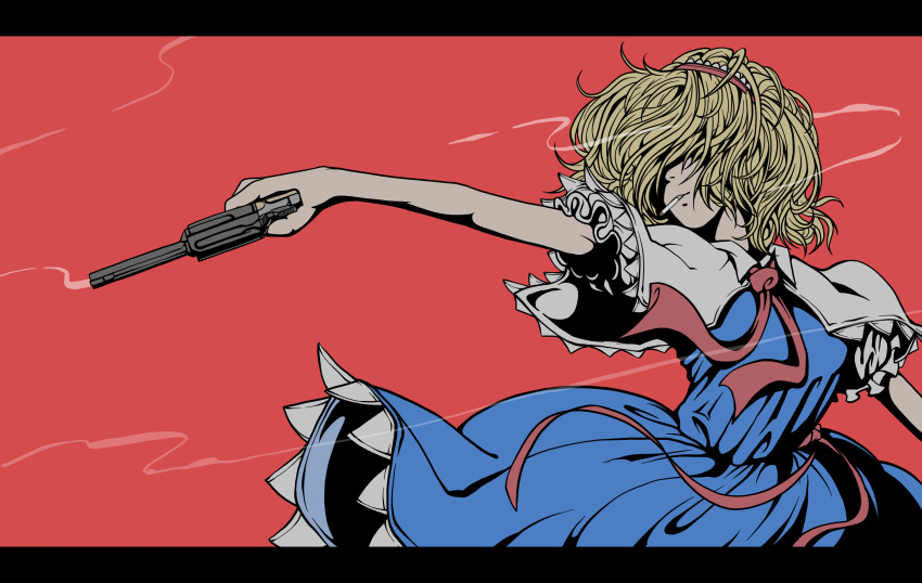 1girl alice_margatroid bangs blonde_hair blue_dress capelet cigarette closed_mouth commentary_request cookie_(touhou) cowboy_shot dress frilled_hairband frilled_sleeves frills gun hair_between_eyes hair_over_eyes hairband handgun highres holding holding_gun holding_weapon jigen_(cookie) letterboxed necktie red_hairband red_neckwear red_sash revolver sash shirt short_hair simple_background sleeveless sleeveless_dress smoke smoking smoking_gun solo touhou weapon white_capelet white_shirt zat_(nicoseiga16862246)
