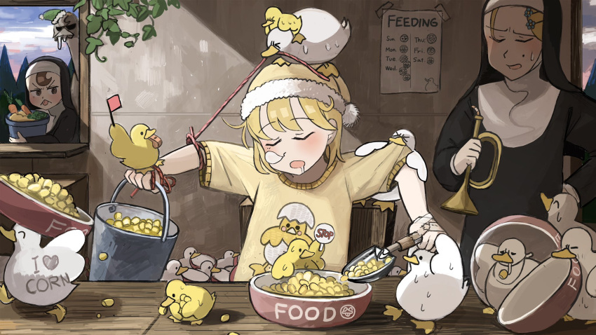 >_< 3girls :< ^_^ animal_on_head bib bird bird_on_head blonde_hair body_writing bowl broccoli brown_eyes brown_hair bucket bugle carrot catholic chicken closed_eyes clothes_pull commentary corn dawn diva_(hyxpk) drooling duck duck_print duckling english_commentary flower food green_headwear habit hair_flower hair_ornament hairclip hand_on_hip hanging_plant highres holding holding_bucket holding_instrument hook-bang_nun_(diva) instrument little_nuns_(diva) mini_flag mole mole_under_eye mouth_hold multiple_girls nose_bubble nun object_on_head on_head ostrich peeking poster_(object) protagonist_nun_(diva) pulling red_flag scowly_nun_(diva) shirt shirt_pull sigh sign sleeping sleeping_upright string sweatdrop tongue tongue_out trowel vegetable whistle window yellow_headwear yellow_shirt