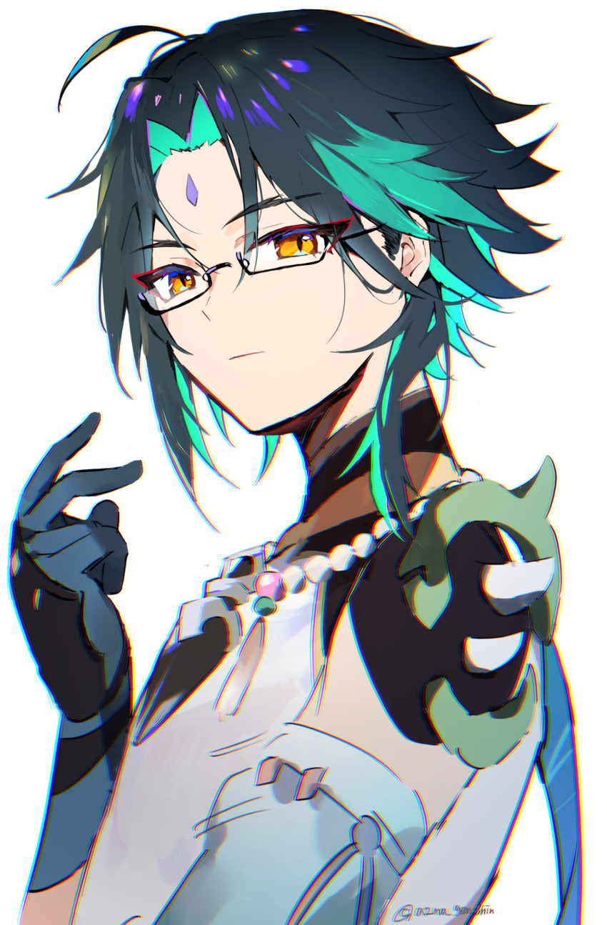 1boy absurdres aqua_hair azna bangs bead_necklace beads bespectacled black_hair closed_mouth eyebrows_visible_through_hair facial_mark forehead_mark genshin_impact glasses gloves highres jewelry looking_at_viewer male_focus necklace simple_background solo twitter_username upper_body white_background xiao_(genshin_impact) yellow_eyes
