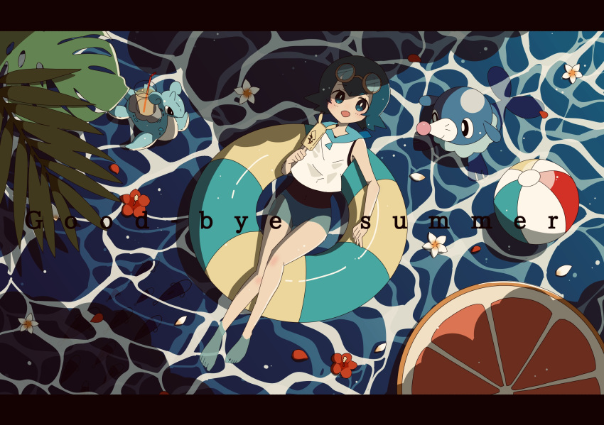 1girl afloat ball bangs barefoot beachball blue_eyes blue_hair blue_sailor_collar blush bright_pupils commentary_request drinking_straw english_text eyelashes flower food freckles from_above glass goggles goggles_on_head harapeko_(syokuyokuousei) highres holding holding_stick innertube lana_(pokemon) lapras looking_at_viewer no_sclera open_mouth petals plant pokemon pokemon_(creature) pokemon_(game) pokemon_sm popplio popsicle sailor_collar shirt short_hair sleeveless sleeveless_shirt smile stick summer toes water white_flower white_pupils white_shirt