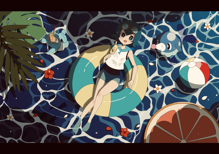 1girl afloat ball bangs barefoot beachball blue_eyes blue_hair blue_sailor_collar blush bright_pupils commentary_request drinking_straw eyelashes flower food freckles from_above glass goggles goggles_on_head harapeko_(syokuyokuousei) highres holding holding_stick innertube lana_(pokemon) lapras looking_at_viewer no_sclera open_mouth petals plant pokemon pokemon_(creature) pokemon_(game) pokemon_sm popplio popsicle sailor_collar shirt short_hair sleeveless sleeveless_shirt smile stick summer textless toes water white_flower white_pupils white_shirt