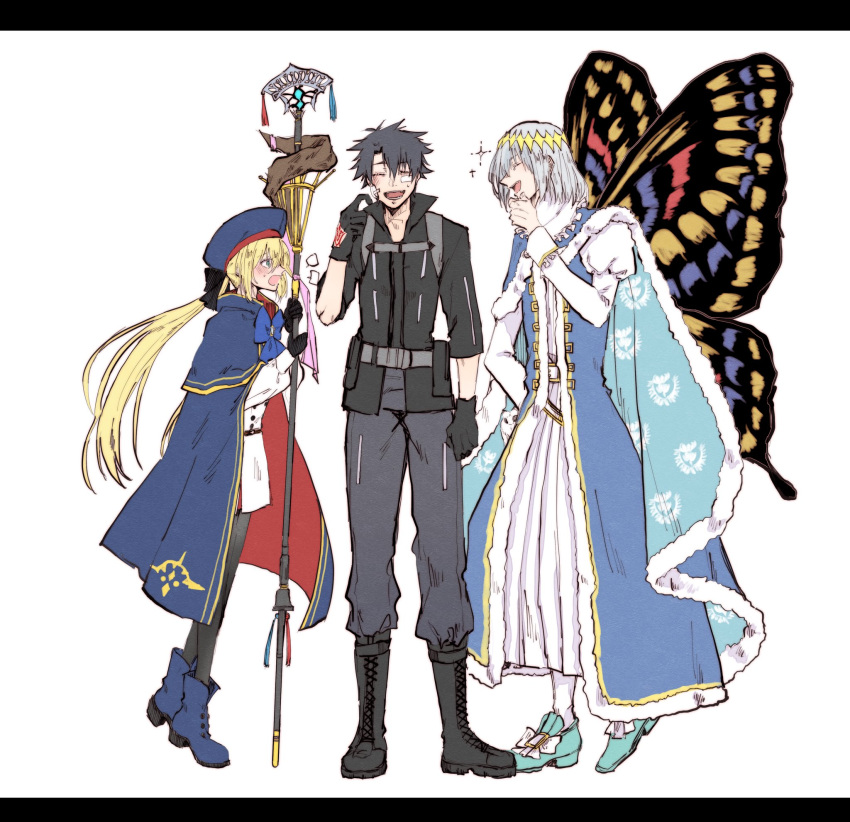 1girl 2boys artoria_pendragon_(caster)_(fate) artoria_pendragon_(fate) bandaid bandaid_on_face black_gloves black_hair blonde_hair boots bow butterfly_wings cape chin_stroking command_spell fate/grand_order fate_(series) fujimaru_ritsuka_(male) gloves hat highres laughing multiple_boys nesui_sui oberon_(fate) pantyhose polar_chaldea_uniform silver_hair staff white_background wings