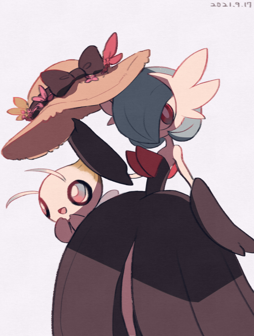 :d alternate_color bow bright_pupils brown_bow celebi commentary_request dated gardevoir hands_up hat hat_bow highres holding holding_clothes holding_hat leels looking_at_viewer mega_gardevoir mega_pokemon mythical_pokemon open_mouth pokemon pokemon_(creature) red_eyes shiny_pokemon smile tongue white_pupils