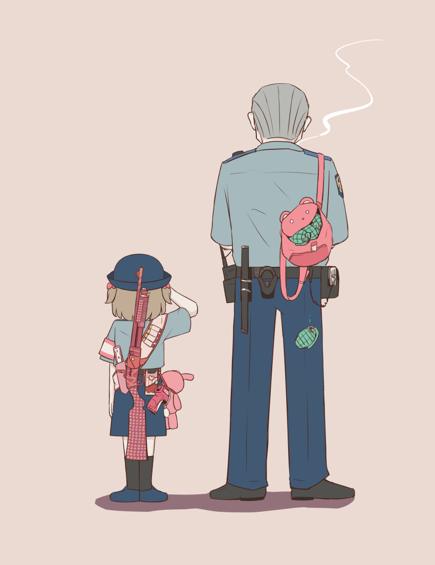 1boy 1girl absurdres arm_up armband avogado6 backpack bag baton_(weapon) belt black_belt black_footwear black_legwear blue_footwear blue_headwear blue_pants blue_shirt blue_skirt bow child commentary crossed_arms dress_shirt english_commentary explosive facing_away flat_color from_behind full_body grenade grey_hair gun hair_bow handgun hands_up hat highres light_brown_hair loafers medium_hair mixed-language_commentary mk2_(grenade) old old_man original pale_skin pants pink_background pink_bag pink_bow police police_uniform policeman policewoman romaji_commentary salute sash shadow sheath sheathed shirt shirt_tucked_in shoes short_hair short_sleeves simple_background skirt smoke smoking socks standing stuffed_animal stuffed_bunny stuffed_toy uniform weapon weapon_request