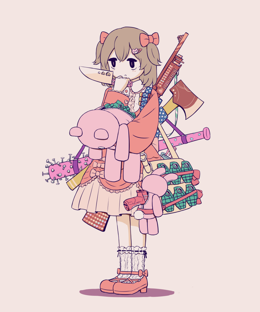 1girl absurdres arm_up avogado6 axe bag bags_under_eyes bandolier baseball_bat beretta_px4 black_eyes bow bright_pupils brown_hair center_frills child commentary constricted_pupils dress explosive frilled_dress frilled_sleeves frills full_body grenade gun hair_bow hair_ornament hairclip hand_to_own_mouth handgun highres holding holding_knife holding_stuffed_toy jitome kitchen_knife knife long_sleeves medium_hair mk2_(grenade) nail nail_bat no_sclera original over_shoulder pink_background pink_bow pink_dress pistol remington_870 revision rifle romaji_commentary shadow shotgun simple_background slit_pupils solo standing stuffed_animal stuffed_bunny stuffed_toy teddy_bear teddy_bear_hair_ornament two_side_up weapon weapon_over_shoulder white_pupils yellow_bag