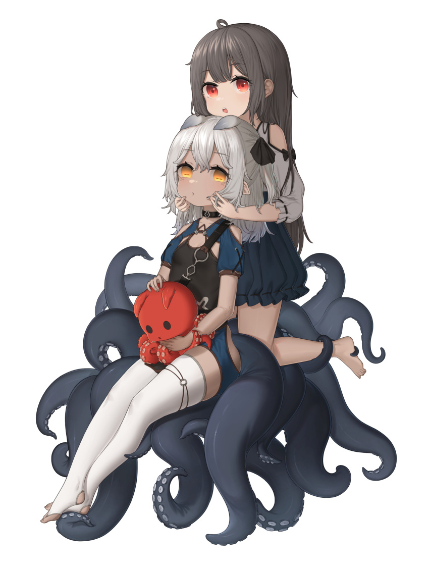 2girls absurdres ahoge animal_ears bangs barefoot black_hair black_ribbon black_shirt black_skirt blue_shorts breasts chinese_commentary clothing_cutout commentary_request eyebrows_visible_through_hair full_body hair_between_eyes hair_ribbon hands_on_another's_cheeks hands_on_another's_face highres holding holding_stuffed_toy horizontal_pupils kneeling koebushi_(mat) long_hair long_sleeves looking_at_viewer monster_girl multiple_girls no_shoes open_mouth original red_eyes ribbon shirt short_shorts short_sleeves shorts shoulder_cutout silver_hair sitting skirt small_breasts stirrup_legwear stuffed_animal stuffed_octopus stuffed_toy tentacles thigh-highs toeless_legwear upper_teeth very_long_hair white_legwear white_shirt yellow_eyes