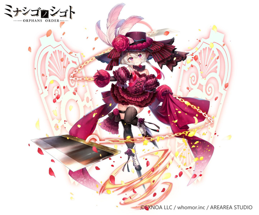 1girl bangs black_legwear blade boots breasts chain closed_mouth copyright_request detached_sleeves dress eyebrows_visible_through_hair flower frilled_dress frilled_sleeves frills gloves gradient_hair grey_hair hair_between_eyes hat hat_feather hat_flower head_tilt highres multicolored_hair official_art petals pink_feathers platform_footwear platform_heels puffy_short_sleeves puffy_sleeves purple_headwear red_dress red_flower red_gloves red_rose redhead rose ryuuki_(hydrangea) short_sleeves simple_background small_breasts smile solo standing standing_on_one_leg strapless strapless_dress thigh-highs thighhighs_under_boots violet_eyes watermark white_background white_footwear