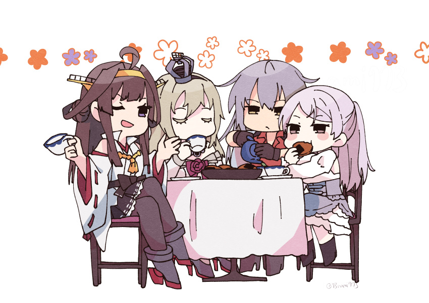 4girls absurdres ahoge black_footwear black_gloves black_legwear blonde_hair boots brown_eyes brown_hair closed_eyes commentary_request conte_di_cavour_(kancolle) corset crown cup detached_sleeves double_bun dress flower frilled_dress frills gangut_(kancolle) gloves grey_hair hairband headgear highres japanese_clothes kantai_collection kongou_(kancolle) long_hair long_sleeves mini_crown multiple_girls nami_nami_(belphegor-5812) pantyhose red_flower red_ribbon red_rose red_shirt remodel_(kantai_collection) ribbon ribbon-trimmed_sleeves ribbon_trim rose senbei shirt silver_hair simple_background sitting table teacup teapot thigh-highs thigh_boots two_side_up upper_body violet_eyes warspite_(kancolle) white_background white_dress