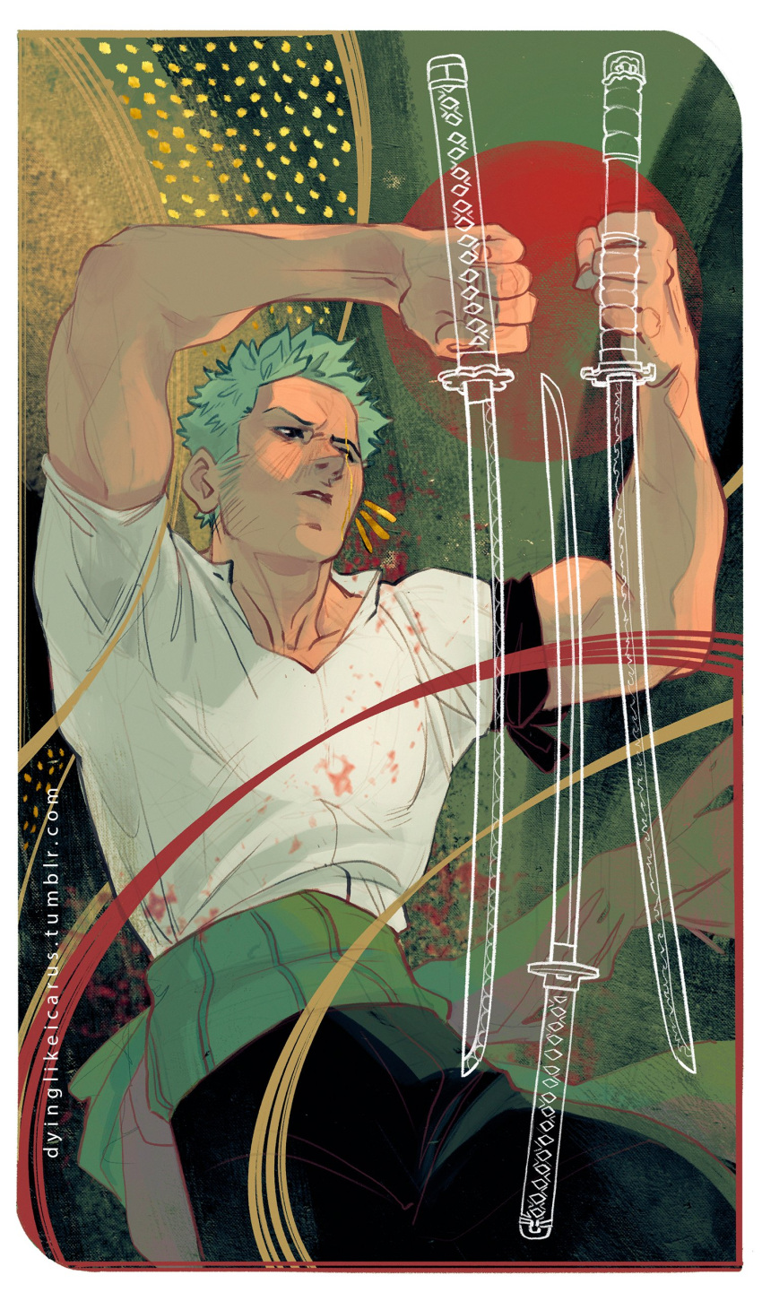 13_(dyinglikeicarus) 1boy absurdres arms_up biceps black_pants feet_out_of_frame fighting_stance green_hair highres holding holding_sword holding_weapon katana male_focus muscular muscular_male one_piece pants pectorals roronoa_zoro scar scar_across_eye scar_on_face shirt short_hair sideburns solo sword weapon white_shirt