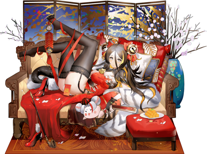1girl antenna_hair ark_order ass bell black_footwear black_gloves black_hair black_legwear blonde_hair bow bracelet braid breasts bridal_gauntlets carpet china_dress chinese_clothes colored_inner_hair couch cthulhu_mythos dress folding_fan folding_screen frilled_gloves frills garter_straps gloves grey_eyes hair_bell hair_between_eyes hair_bow hair_ornament hand_fan hastur_(ark_order) high_heels holding holding_fan hongbao jewelry lace-trimmed_legwear lace_trim large_breasts legs_up long_hair looking_at_viewer lying multicolored_hair multiple_rings official_art on_back pale_skin panties pillow pipe pppppan red_dress red_ribbon ribbon ring shoes shoes_removed solo sparkle streaked_hair table tachi-e thigh-highs transparent_background underwear vase very_long_hair white_panties
