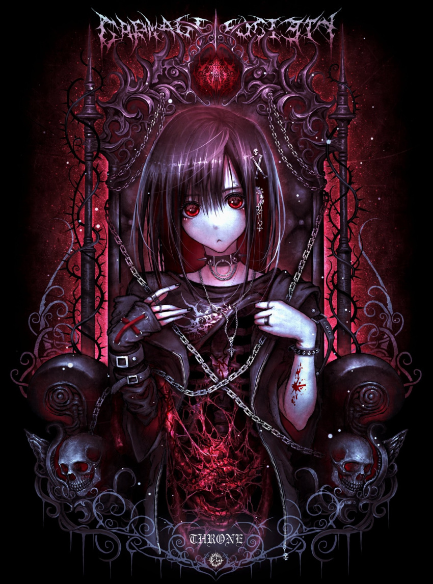 1girl :< asymmetrical_clothes black_background black_hair blood blood_splatter bracelet chain chair choker clothes_lift commentary_request earrings english_commentary gothic guro hair_ornament hairclip highres intestines jewelry looking_at_viewer mixed-language_commentary nail_polish necklace original piercing red_eyes ribs ring shirt_lift skull spine thorns throne yu-ki_iwata zipper