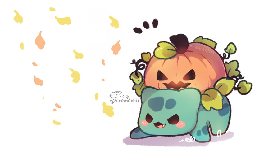 blush_stickers brown_eyes bulbasaur cremechii fang leaf leaves_in_wind no_humans notice_lines open_mouth pokemon pokemon_(creature) pumpkin solo standing symbol-only_commentary tongue white_background
