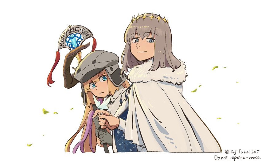 1boy 1girl artoria_pendragon_(caster)_(fate) artoria_pendragon_(fate) asaya_minoru bangs blonde_hair blue_cloak blue_eyes cabbie_hat cloak closed_mouth english_text eyebrows_visible_through_hair fate/grand_order fate_(series) fur-trimmed_cloak fur_trim gloves grey_gloves grey_hair grey_headwear hair_between_eyes hat holding holding_staff jacket leaves_in_wind long_hair long_sleeves oberon_(fate) simple_background smile staff twitter_username very_long_hair white_background white_cloak white_jacket