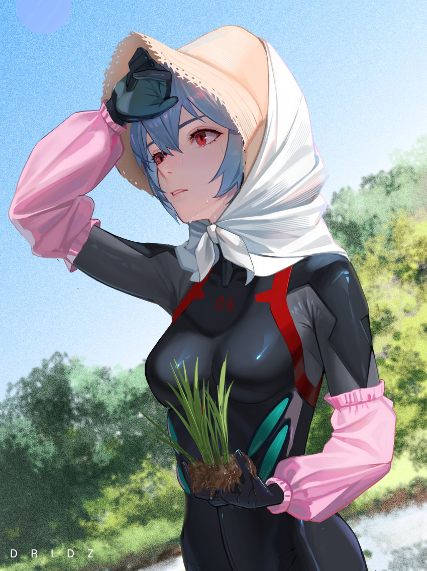 1girl artist_name ayanami_rei bandana bangs black_bodysuit blue_hair bodysuit breasts commentary detached_sleeves drid dutch_angle english_commentary film_grain foliage hair_between_eyes hand_to_forehead hat head_scarf highres holding_plant looking_ahead medium_breasts neon_genesis_evangelion parted_lips pink_sleeves plant plugsuit red_eyes rice_planting shaded_face shading_eyes skky solo straw_hat sun_hat sweat sweating_profusely upper_body white_bandana