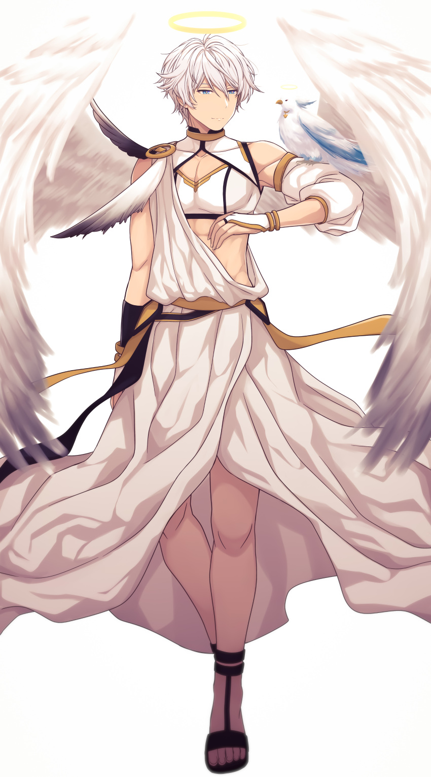 1boy abs absurdres angel angel_wings asymmetrical_gloves bangs bare_shoulders bird black_gloves fingerless_gloves full_body gloves hair_between_eyes halo highres honkai_(series) honkai_impact_3rd kaixuan_lushang kevin_kaslana looking_at_animal mismatched_gloves muscular muscular_male sandals short_hair simple_background solo toes toga white_background white_bird white_gloves wings