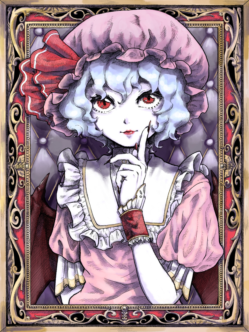 1girl absurdres bangs bat_wings blue_hair closed_mouth commentary_request dress eyebrows_behind_hair finger_to_cheek flat_chest framed frilled_shirt_collar frills hair_between_eyes hand_up hat hat_ribbon highres index_finger_raised light_smile lips looking_at_viewer maruya_danchi mob_cap outside_border puffy_short_sleeves puffy_sleeves purple_dress purple_headwear red_eyes red_ribbon remilia_scarlet ribbon short_hair short_sleeves solo touhou wings wrist_cuffs