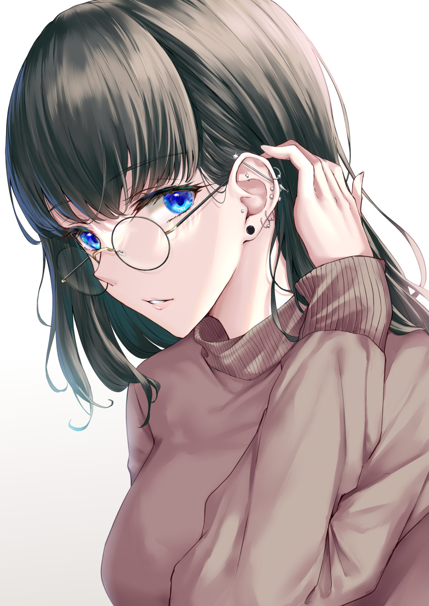 1girl absurdres black_hair blue_eyes breasts brown_sweater commentary_request glasses hand_up highres long_sleeves medium_breasts original parted_lips piercing rama_(yu-light8) round_eyewear short_hair simple_background solo sweater turtleneck turtleneck_sweater upper_body white_background