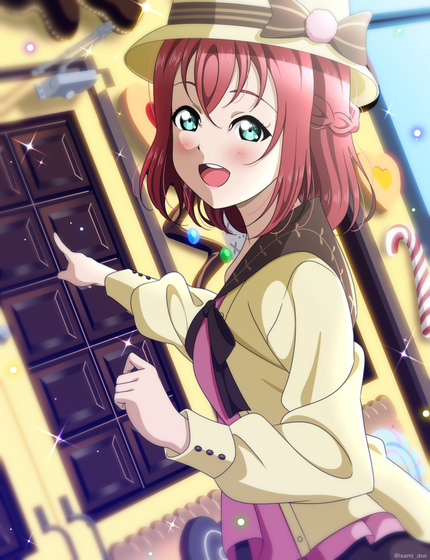 1girl absurdres aqua_eyes birthday blush happy_birthday highres isami_don kurosawa_ruby long_hair looking_at_viewer love_live! love_live!_sunshine!! open_mouth redhead smile solo two_side_up