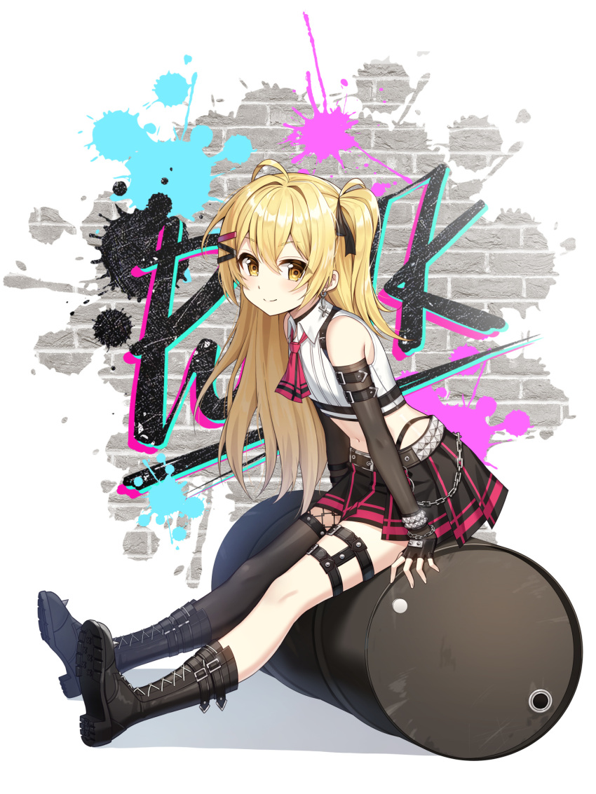1girl ahoge arm_belt artist_request bare_shoulders belt black_choker black_footwear black_gloves black_legwear black_skirt blonde_hair boots bracelet chain chest_harness choker closed_mouth closers collared_shirt crop_top detached_sleeves drum_(container) earrings fingerless_gloves fishnets flat_chest gloves hair_ornament hair_ribbon hairclip harness highleg highres jewelry leg_belt long_hair looking_at_viewer lucy_(closers) midriff miniskirt navel necktie official_art one_side_up pleated_skirt ribbed_shirt ribbon shirt short_necktie single_thighhigh sitting skirt sleeveless sleeveless_shirt smile solo stomach studded_belt thigh-highs white_shirt yellow_eyes