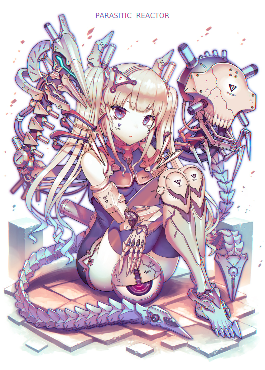 1girl barcode bare_shoulders blonde_hair blue_eyes blue_hair breasts commentary_request crying crying_with_eyes_open cyberpunk cyborg english_text eyebrows_visible_through_hair fetal_position gia gradient_hair highres long_hair looking_at_viewer mechanical_tail multicolored multicolored_eyes multicolored_hair original parted_lips prosthesis prosthetic_arm prosthetic_leg red_eyes sitting small_breasts solo tail tears thigh-highs twintails two-tone_hair white_background