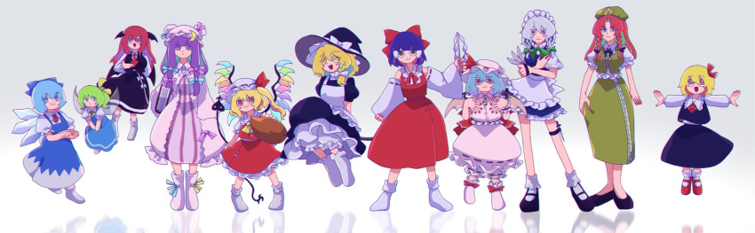 6+girls apron ascot bat_wings blonde_hair blue_dress blue_eyes blue_hair bow braid broom broom_riding cirno commentary_request daiyousei detached_sleeves dress embodiment_of_scarlet_devil eyebrows_visible_through_hair fairy_wings flandre_scarlet gohei green_hair grey_background hair_between_eyes hair_bow hair_ribbon hair_tubes hakurei_reimu hat head_wings highres holding holding_knife hong_meiling ice ice_wings iganashi1 izayoi_sakuya kirisame_marisa knife knives_between_fingers koakuma laevatein_(touhou) long_hair long_sleeves maid maid_apron maid_headdress mob_cap multiple_girls nontraditional_miko open_mouth patchouli_knowledge pinafore_dress pose puffy_short_sleeves puffy_sleeves purple_hair red_eyes red_skirt red_vest redhead reflection remilia_scarlet ribbon rumia short_hair short_sleeves simple_background skirt smile t-pose touhou vest violet_eyes wings yellow_neckwear