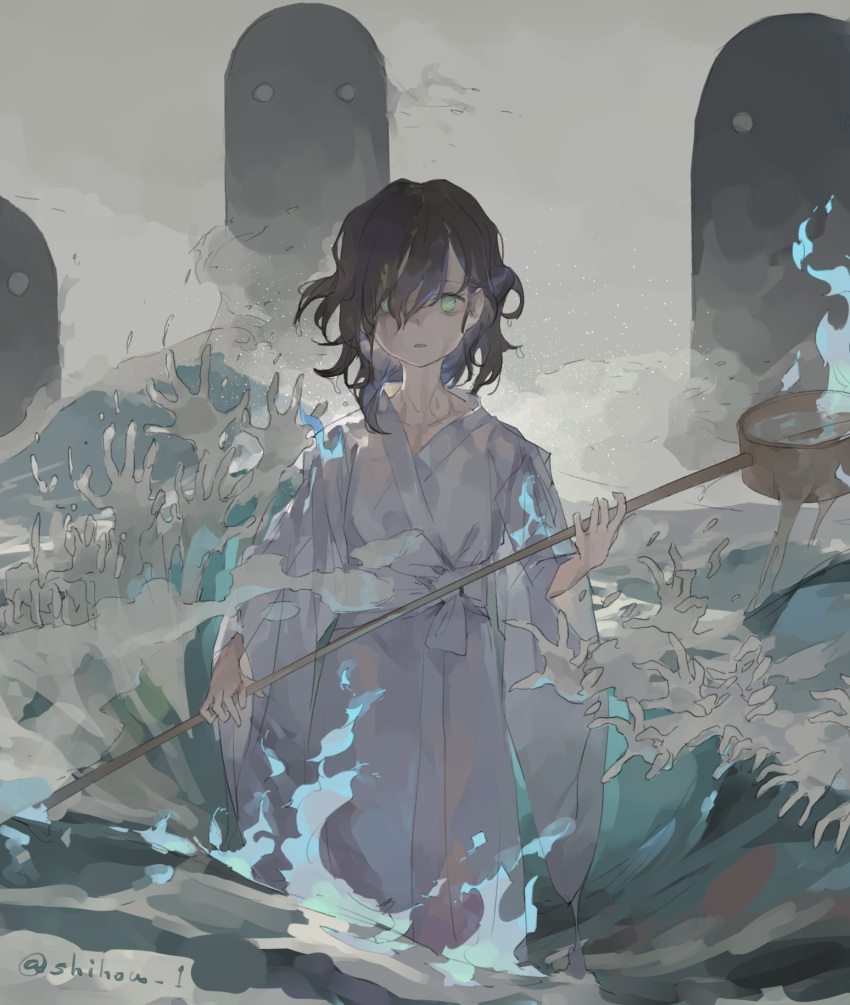 1girl alternate_costume black_hair blue_fire commentary fire ghost green_eyes grey_background hands highres hishaku holding japanese_clothes kimono long_sleeves looking_at_viewer medium_hair murasa_minamitsu partially_submerged shihou_(g-o-s) solo standing touhou translated twitter_username upper_body wading water waves white_kimono wide_sleeves