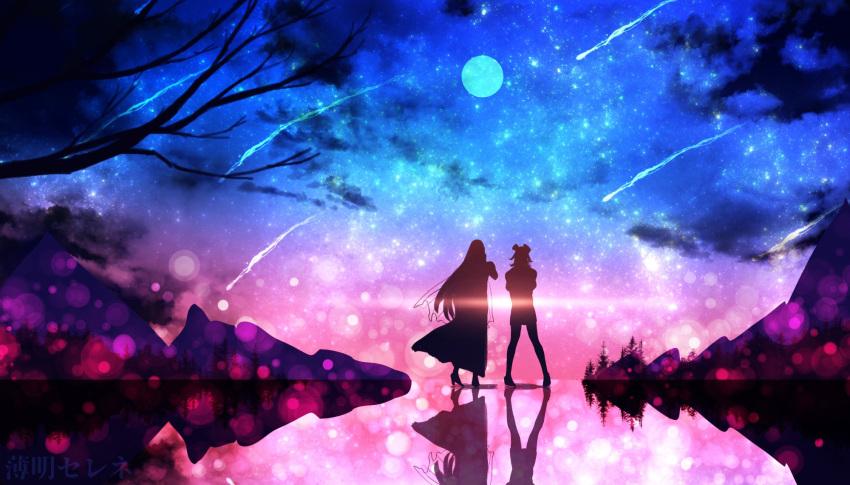2girls branch ciel_hoshikage full_moon high_heels highres hololive hololive_english moon mori_calliope mountainous_horizon multiple_girls night night_sky outdoors reflection scenery shooting_star sky star_(sky) starry_sky tagme takanashi_kiara veil virtual_youtuber