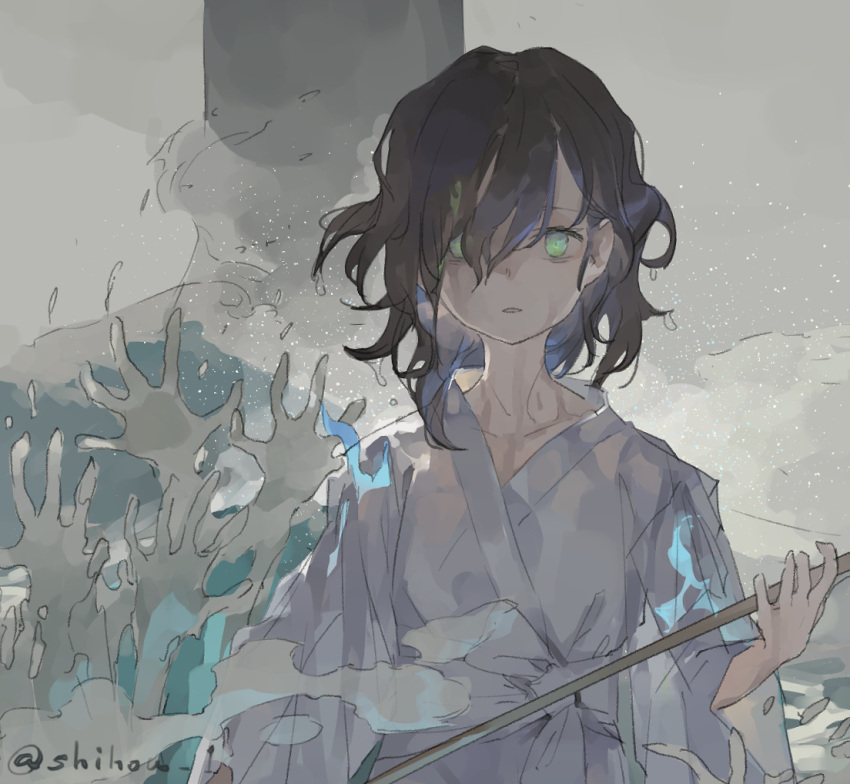 1girl alternate_costume black_hair blue_fire commentary fire ghost green_eyes grey_background hands hishaku holding japanese_clothes kimono long_sleeves looking_at_viewer medium_hair murasa_minamitsu partially_submerged shihou_(g-o-s) solo standing touhou translated twitter_username upper_body wading water waves white_kimono wide_sleeves