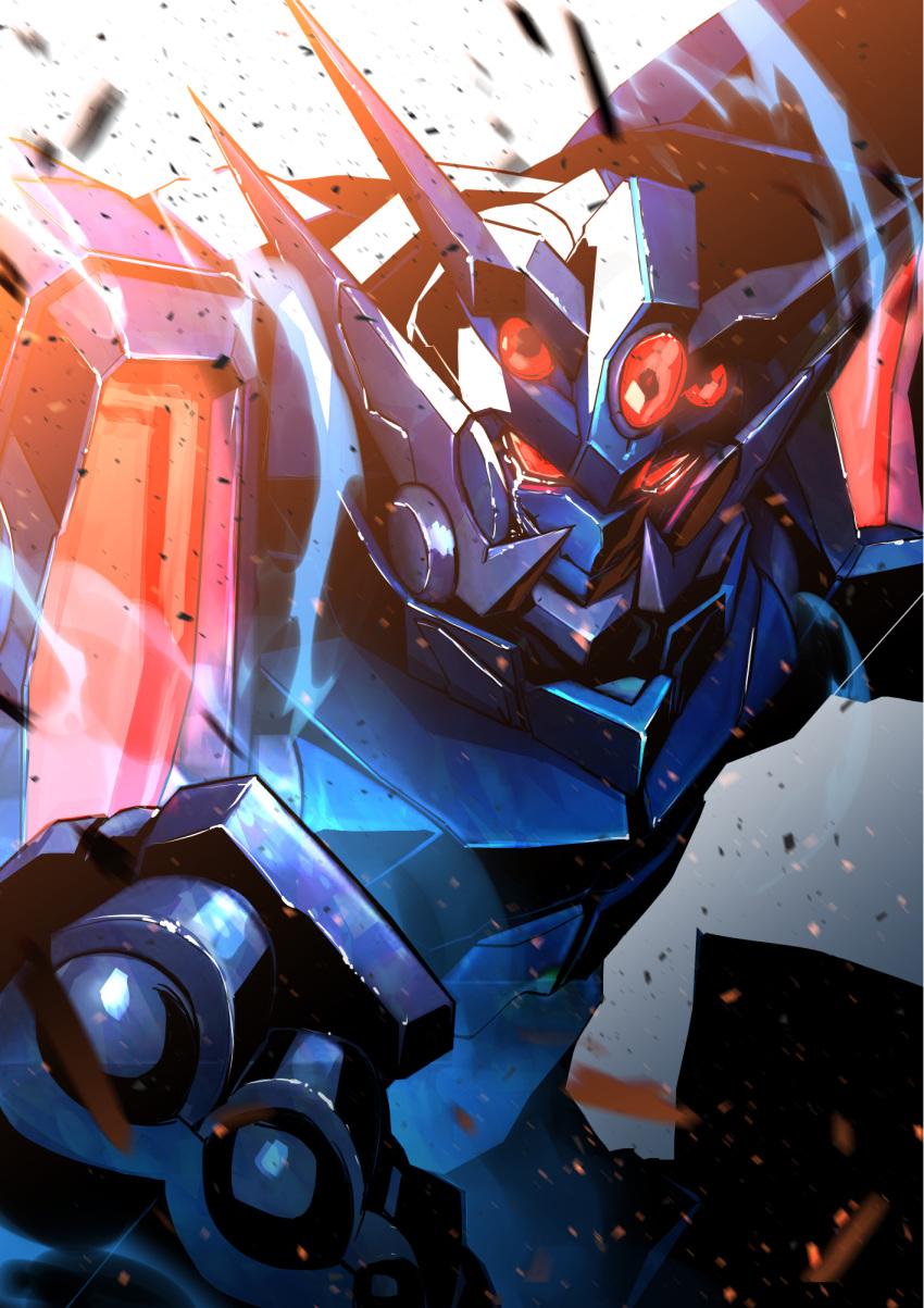 clenched_hand fujii_daisei glowing glowing_eyes highres kuri_giepi looking_ahead mecha no_humans red_eyes science_fiction solo super_robot super_robot_wars upper_body v-fin