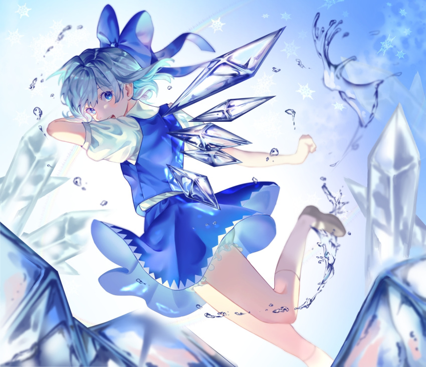 1girl bangs bloomers blue_background blue_bow blue_dress blue_eyes blue_hair blush bow cirno collared_shirt commentary dress full_body gradient gradient_background hair_bow ice ice_wings lobo_(user_hznx8287) looking_at_viewer looking_back mary_janes pinafore_dress puffy_short_sleeves puffy_sleeves rainbow red_neckwear red_ribbon ribbon shirt shoes short_hair short_sleeves simple_background smile snowflakes socks solo touhou underwear white_legwear white_shirt wing_collar wings