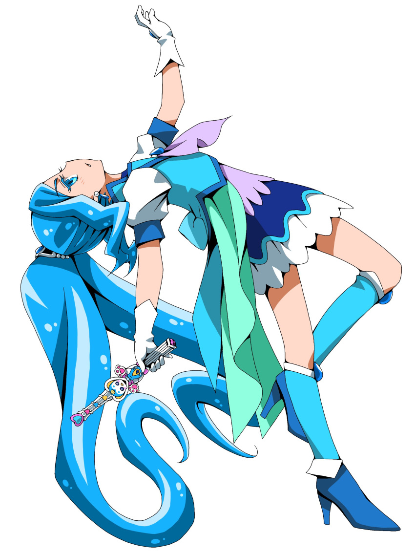 1girl absurdres blue_eyes blue_footwear blue_hair blue_jacket blue_legwear cure_fontaine ebura_din eyebrows_visible_through_hair from_side full_body gloves healin'_good_precure high_heels highres holding jacket long_hair miniskirt parted_lips pegitan_(precure) precure profile short_sleeves simple_background skirt solo twintails very_long_hair white_background white_gloves white_skirt white_sleeves