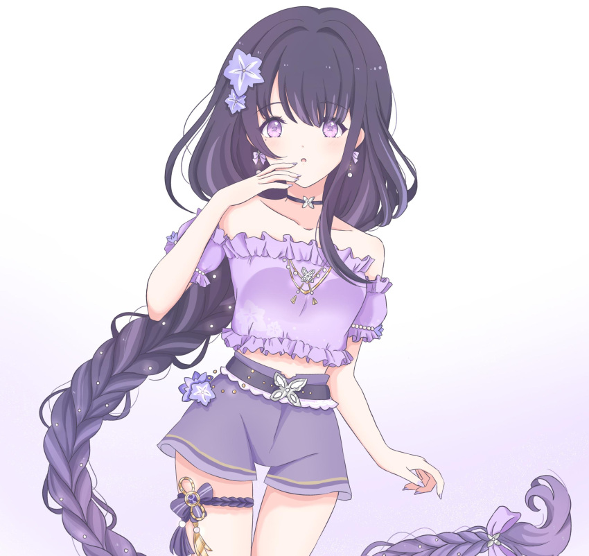 1girl alternate_costume bangs bare_shoulders blunt_bangs bomhanami bow braid braided_ponytail casual collarbone commentary contemporary detached_sleeves earrings english_commentary eyebrows_visible_through_hair genshin_impact gradient gradient_background gradient_hair hair_bow hair_ornament hair_ribbon highres jewelry long_hair looking_at_viewer low-tied_long_hair low_ponytail midriff multicolored_hair off-shoulder_shirt off_shoulder parted_lips purple_hair purple_shorts raiden_shogun ribbon shirt short_shorts short_sleeves shorts sidelocks single_braid solo thighlet violet_eyes