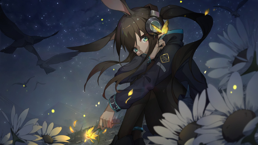 1girl amiya_(arknights) animal_ears anklet arknights bird black_footwear black_jacket black_legwear blue_skirt bug butterfly butterfly_on_finger feet_out_of_frame flower from_side glowing_butterfly glowing_flower green_eyes headphones highres holding holding_flower hood hood_down hooded_jacket jacket jewelry knees_up long_hair long_sleeves looking_at_viewer looking_to_the_side miniskirt mountainous_horizon night outdoors pantyhose parted_lips petals ponytail rabbit_ears sidelocks sitting skirt sky solo star_(sky) starry_sky very_long_hair white_flower xiaoxiao_nanjue_buyaokeng yellow_flower
