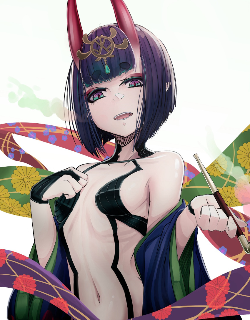 1girl b.d bangs bare_shoulders bob_cut breasts collarbone eyeliner fate/grand_order fate_(series) headpiece highres horns japanese_clothes kimono long_sleeves looking_at_viewer makeup oni oni_horns purple_hair purple_kimono revealing_clothes short_hair shuten_douji_(fate) skin-covered_horns small_breasts violet_eyes wide_sleeves
